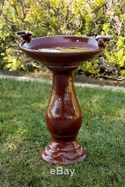Antique Tall Red Ceramic Birdbath Pedestal Garden Yard Birds Water Bowl Feeder
