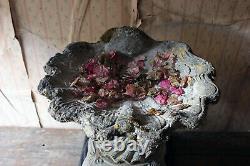 Antique Vintage Mid-20thC Cast Composition Stone Scallop Shell Bird Bath