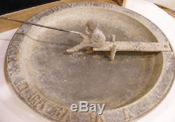 Antique Vtg GARDEN SUNDIAL Boy & Fishing Pole Patina'd metal Birdbath Sculpture