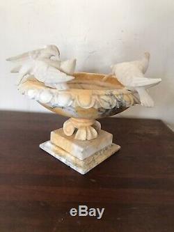 Antique Yellow Stone Marble Bird Bath With Four White Doves