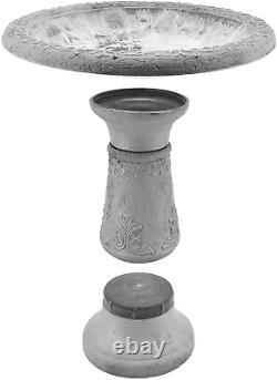 Arcadia Garden Products BB05 Stone Fiberclay Birdbath 19.5x10.25x20.5, Grey