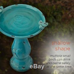 BIRD BATH Outdoor Garden Patio Decor Ceramic Turquoise Pedestal 24-Inch