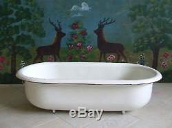 Baby bathtub porcelain Enamel Vintage Baby Bath White Planter Bird Bath