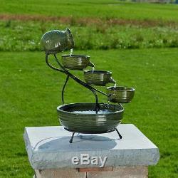 Bamboo Ceramic Cascading Outdoor Fountain Bird Bath Smart Solar Pump Garden Yard