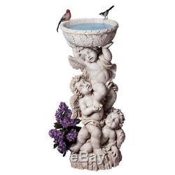 Baroque Style Trio of Cherubs Birdbath Baby Angel Garden Urn