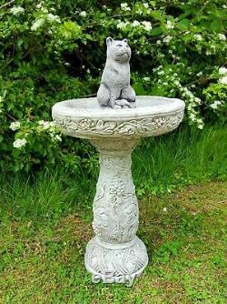 Beautiful CAT BIRD BATH FEEDER Highly Detailed Stone Garden Ornament Decor