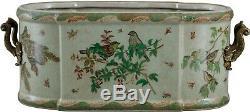 Beautiful Emerald Garden Birds Porcelain Foot Bath, 21'' L x 9''H