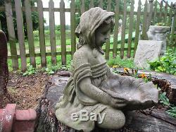 Beautiful Farm Girl Vintage Cement/concrete Unique Tabletop Bird Bath 14 1/2