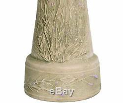 Beige Clay Bird Bath Lavender Pedestal Bowl Outdoor Garden Lawn Decor Floral New