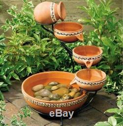 Big Bird Bath Solar Powered Water Cascade Fountain Garden Outdoor Patio Decor