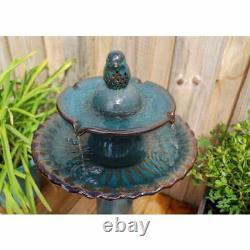 Bird Bath 2 Tiered Glazed Finish Ceramic Birdbath Backyard Garden 27 Inch Green