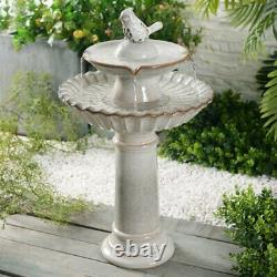 Bird Bath 2 Tiered Glazed Finish Ceramic Birdbath Backyard Garden 27 Inch New