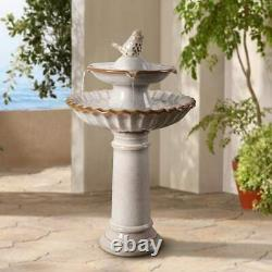 Bird Bath 2 Tiered Glazed Finish Ceramic Birdbath Backyard Garden 27 Inch White