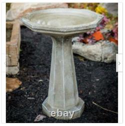 Bird Bath Cast Stone Octagon Shale Outdoor Garden Decor Patio Pedestal 21H Yard