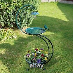 Bird Bath & Feeder Traditional Pedestal Garden Bird Table + Solar Light Outdoor