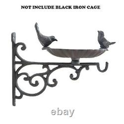 Bird Bath Feeder With Wall Bracket Outdoor Garden Cast Iron Hanging Basket Bird
