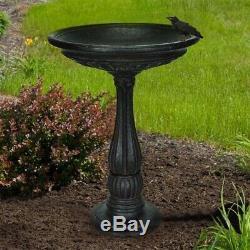 Bird Bath Fountain Fiberglass Patio Garden Decor Cast Stone Charcoal Finish