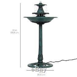 Bird Bath Fountain Garden Decor Pedestal 3-Tier With Pump Pond Water Outdoor Solar