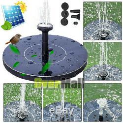 Bird Bath Fountain Solar Powered Water Pump Floating Pond Garden Patio Outdoor