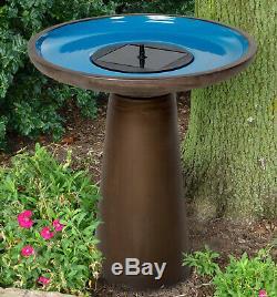 Bird Bath Fountain Solar Pump Ceramic Bronze Blue Outdoor Yard Garden Decoration