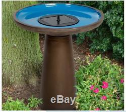 Bird Bath Fountain Solar Pump Ceramic Bronze Blue Outdoor Yard Garden Pedestal