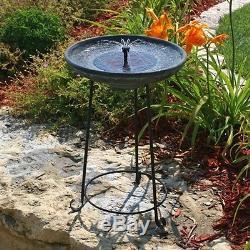 Bird Bath Fountain Water Outdoor Deck Porch Yard Patio Garden Smart Solar Lawn