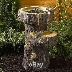 Bird Bath Garden Birdbath Yard Outdoor Smart Solar Fountain Water Tree Trunk
