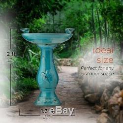 Bird Bath Garden Ceramic Pedestal Birdbath Turquoise Glazed Antique Finish