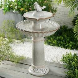 Bird Bath Garden Fountain Outdoor Freestanding Ceramic Patio Tiered Waterfall