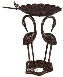 Bird Bath Leaf Statue 2 Crane Bronze Black Cast Aluminum Antique Outdoor Garden