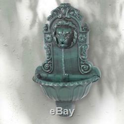 Bird Bath Lion Head Water Feature Wall Mounted Fountain Pump Garden Pond Cascade