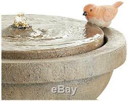 Bird Bath Outdoor Floor Water Bubbler Fountain with Light LED 25 Yard Garden