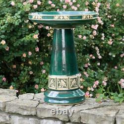 Bird Bath Pedestal Ceramic Glazed Green Backyard Garden Patio Birdbath New