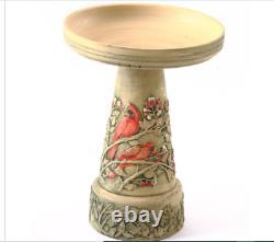 Bird Bath Pedestal Ceramic Stoneware Hand Painted Cardinal Birdbath USA Garden