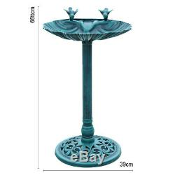 Bird Bath Pedestal Water Bowl Traditional Outdoor Garden Ornament Brze/Grn Shade