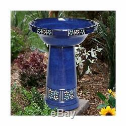 Bird Bath Solar Ceramic Decorative Flower Finish Pump System Garden Backyard