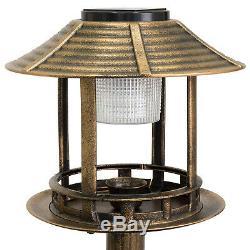 Bird Bath Solar LED Light Feeder with Planter Outdoor Water Bowl Garden Flower