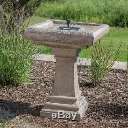 Bird Bath Solar Pedestal Cement Stone Finish Outdoor Garden Patio Pump Included
