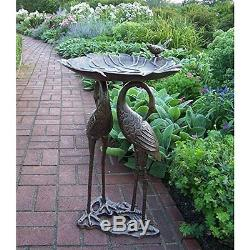 Bird Bath Stand Cast Iron Pedestal 2 Crane Garden Yard Outdoor Rust Free Durable