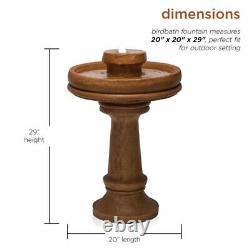 Bird Bath Water Fountain & Pedestal with LED Light Outdoor Yard Garden Decor Brown