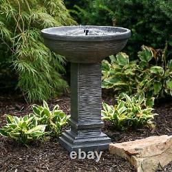 Bird Bath Water Fountain Pump Cast Stone Solar Garden Bowl Pedestal Gray Outdoor
