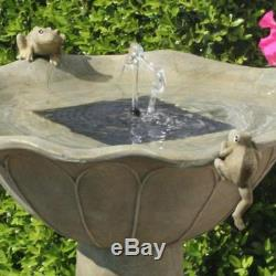 Bird Bath Water Fountain Solar Powered Panel Pump Pedestal Resin Outdoor Garden
