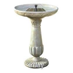 Bird Bath With Fountain Solar Powered Outdoor Garden Birdbath Water Feature Bowl