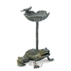 Bird Bath with Stand Frog Garden Decoration Metal Birdbath Luxurious Decor Birds