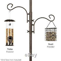 Bird Feeder Bath Station Tall Sturdy Yard Garden Tube & Suet Feeding Birds Tray