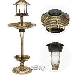 Bird Feeder Pedestal Bird Bath Solar Vintage Lamp Antique Outdoor Garden Planter