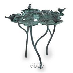 Bird Quartet On Leaves Birdbath Bird Feeder Garden Sculpture Statue SPI Home