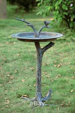 Bird & Twig Birdbath Sundial Sculpture Garden Bird Bath Feeder