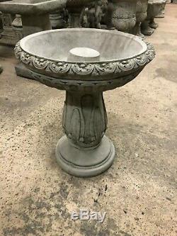 Bird bath swirly pattern large top, Garden or home concrete stone statue sculptur