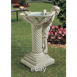 Birdbath Bird Bath Boy Statue Pedestal Garden Sculpture Yard Ornament Art Decor